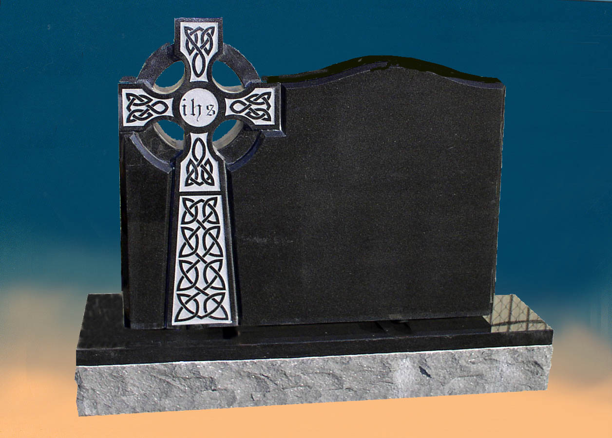 A memorial styled with a Celtic Cross.