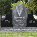 "A memorial labeled ""Bronleewee"" styled with a large cross."