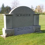 "An arch shaped memorial labeled ""Schaefer"""