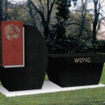 "a black stone memorial labeled ""Wong"""